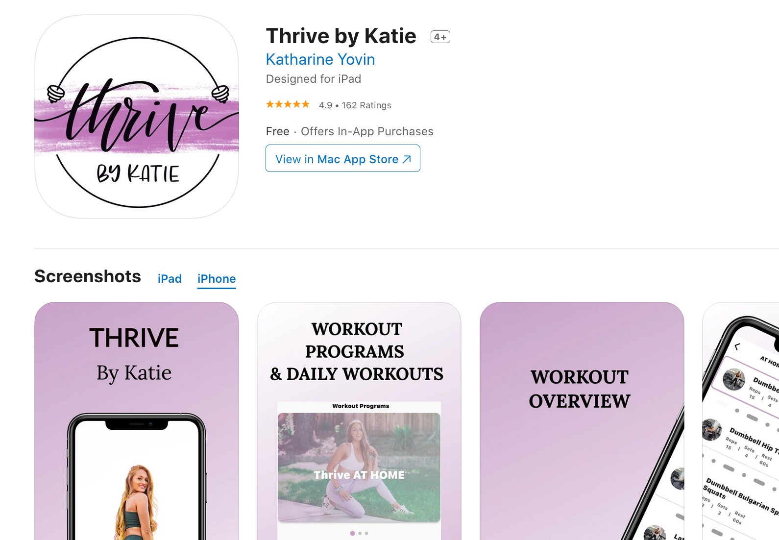 Thrive by katie app store listing