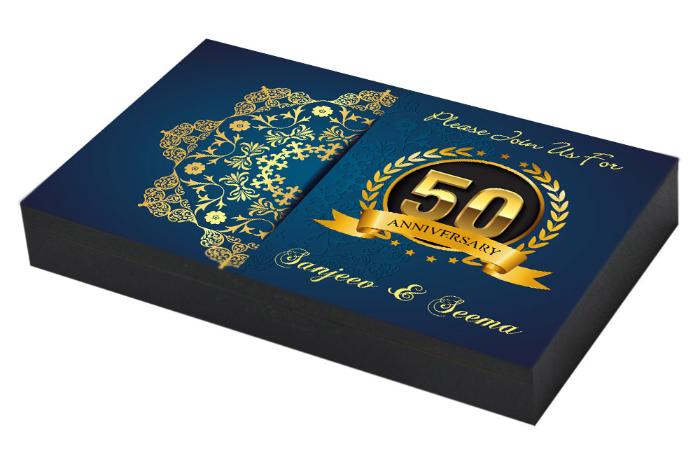 Royal Blue Invitation for 50th Anniversary Invitation