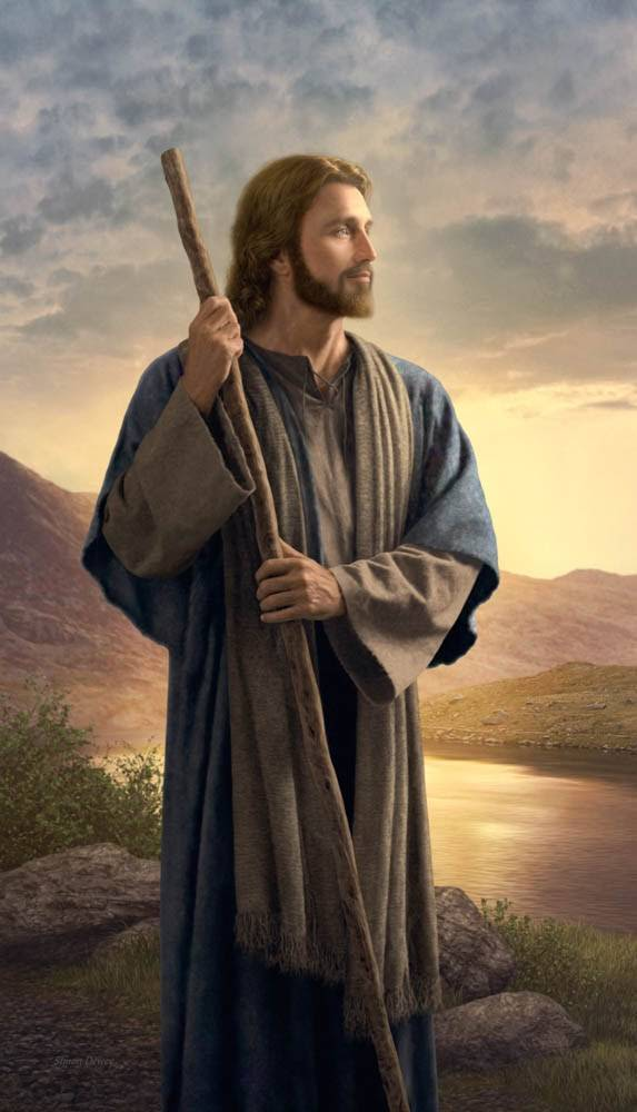 Peaceful LDS art painting of Jesus standing next to a calm river.