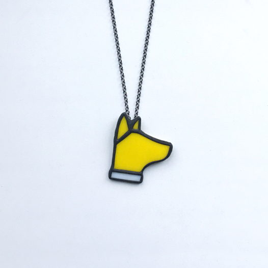 """Кулон из стекла """"Желтый пес"""""""