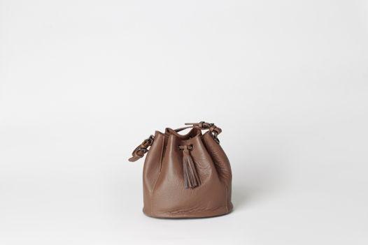Сумка-торба из натуральной кожи  - NAVY - real leather bucket bag
