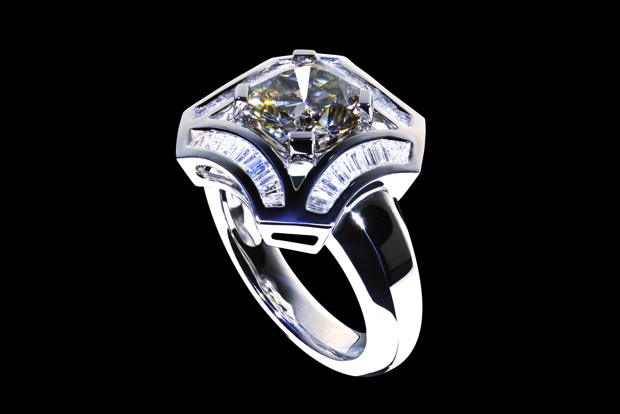 Rare Steel Grey Diamond Ring 45 degrees view