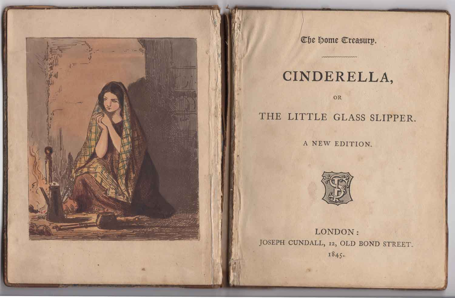 Cinderella Book (from the Collection Book) 1845 In front of the fireplace, Cinderella
