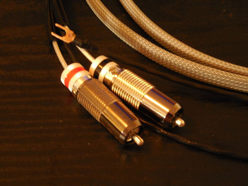 SILVER Phono / Turntable Cable RCA to RCA  2 Meter
