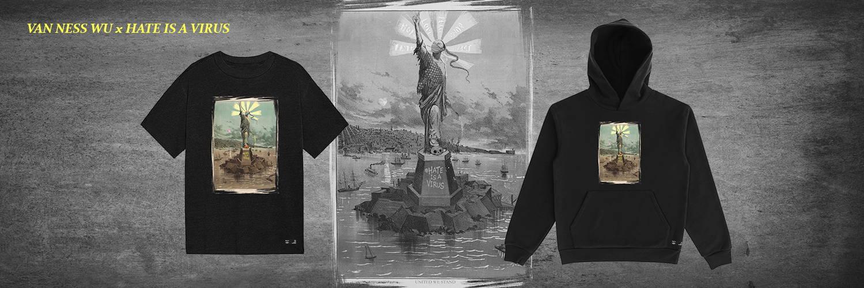 HATEISAVIRUS Van Ness Wu Black United We Stand Peace Tee Shirt Hoodie