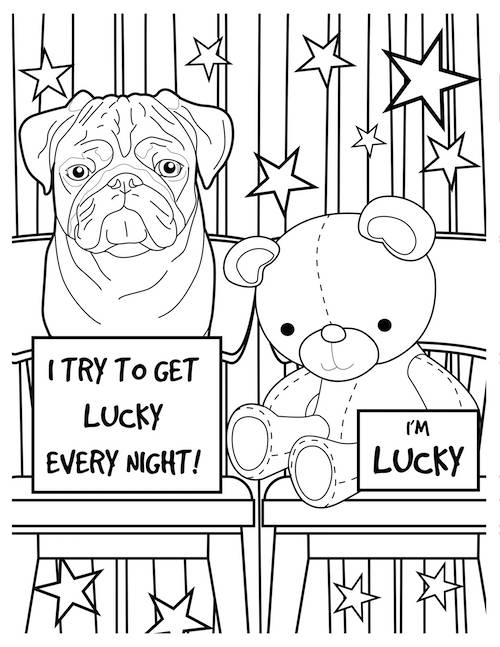 i try to get lucky dog coloring page