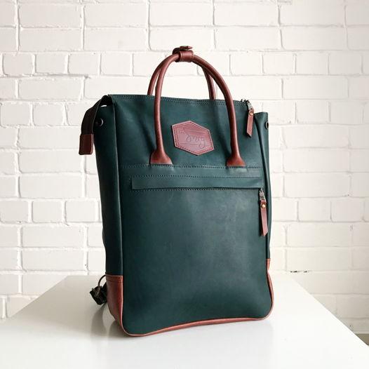 Кожаный рюкзак-сумка Urban Pack Green/Chestnut