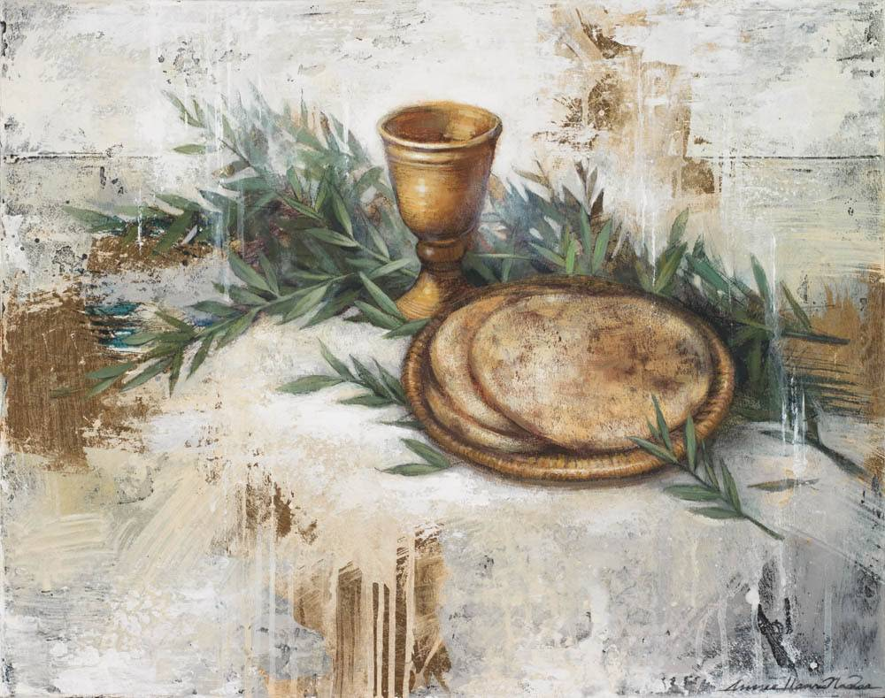 Painting of the Sacramental bread and cup of wine alongside some olive branches.