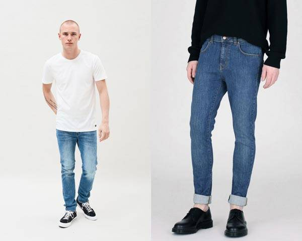 Man wearing organic cotton white t-shirt with organic cotton light indigo jeans and black converse and man wearing mid-indigo organic cotton jeans with a single roll and black derby shoes from sustainable menswear brand Dr Denim