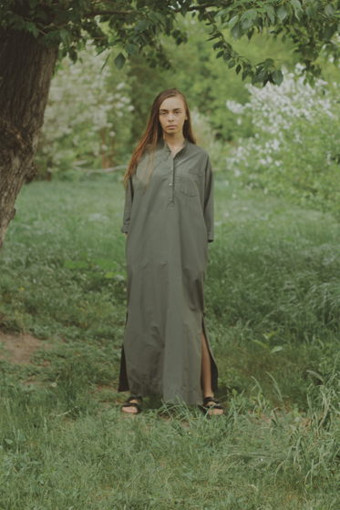 Платье - рубашка длины макси
