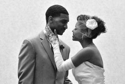 Jasmine and Marcus Murray on their wedding day
