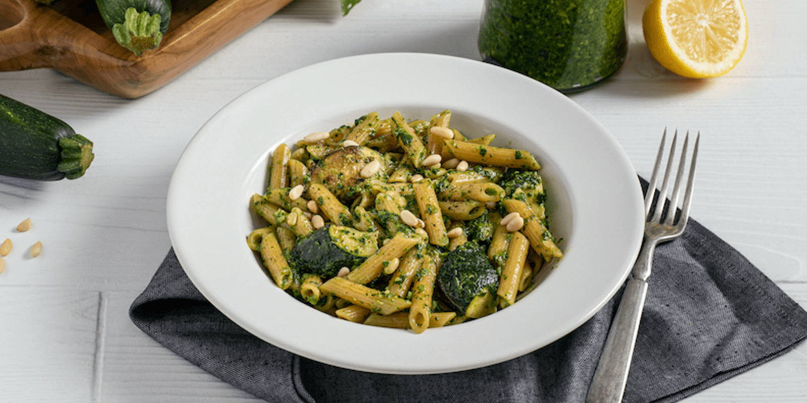 Caramelized Zucchini & ZENB Penne With Effortless Summer Pesto.
