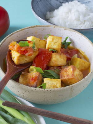Fried Tofu with Tomatoes