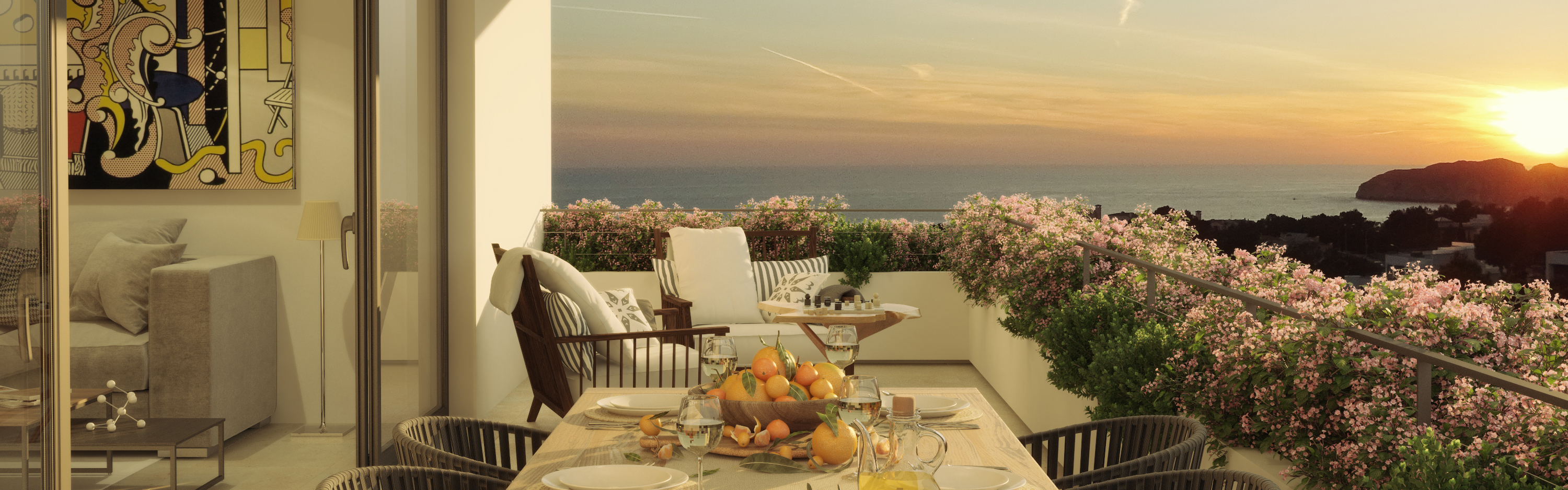 Santa Ponsa - Sea view terrace with sunset at GREEN ELEMENTS