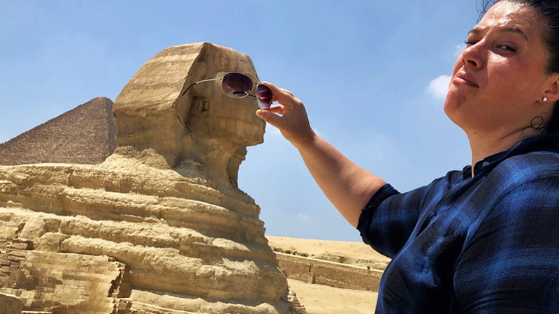 Tourist at Sphinx, Egypt