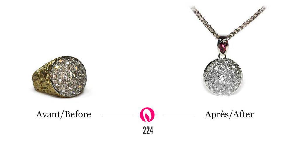 transformation d'une bague pavé de diamants en un pendentif