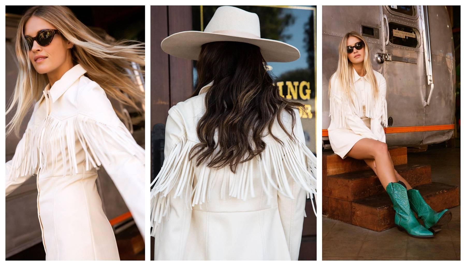 Off White Faux Leather Fringe Western Dress