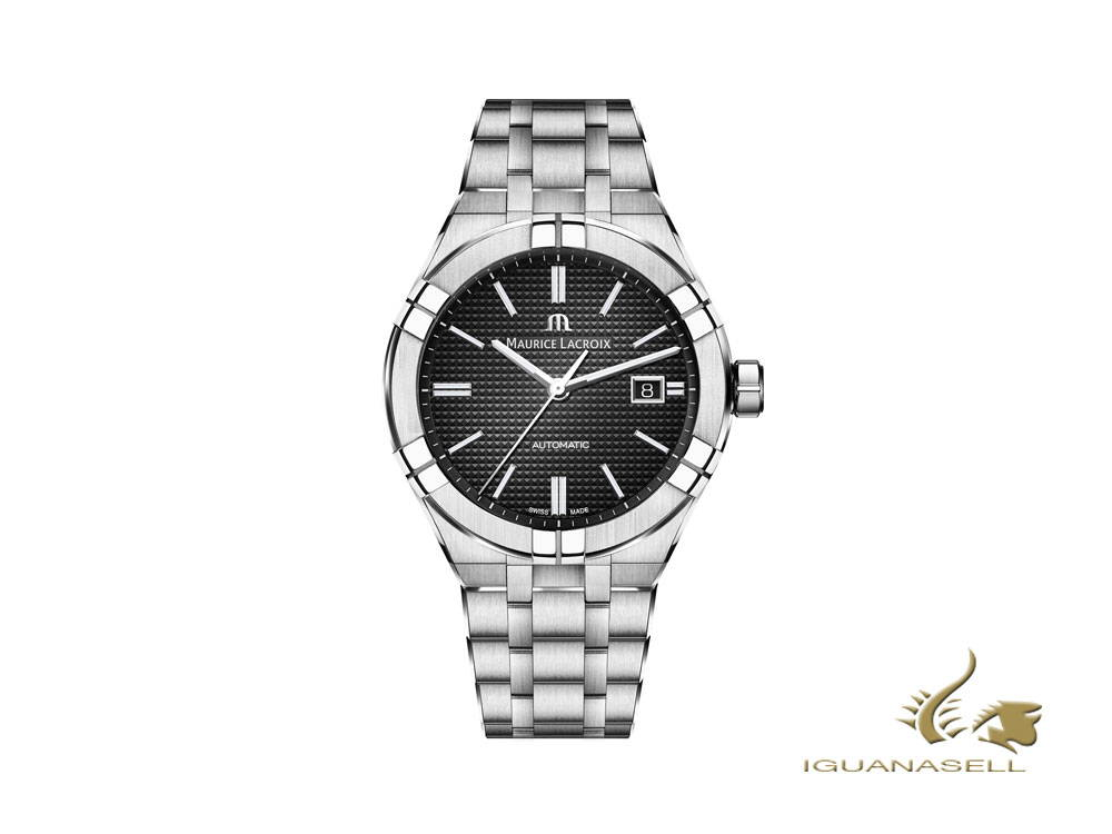 Maurice Lacroix Aikon Gents automatic watch, black, stainless steel bracelet