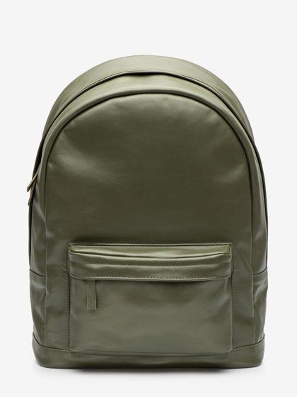 Большой рюкзак, из натуральной кожи цвета хаки