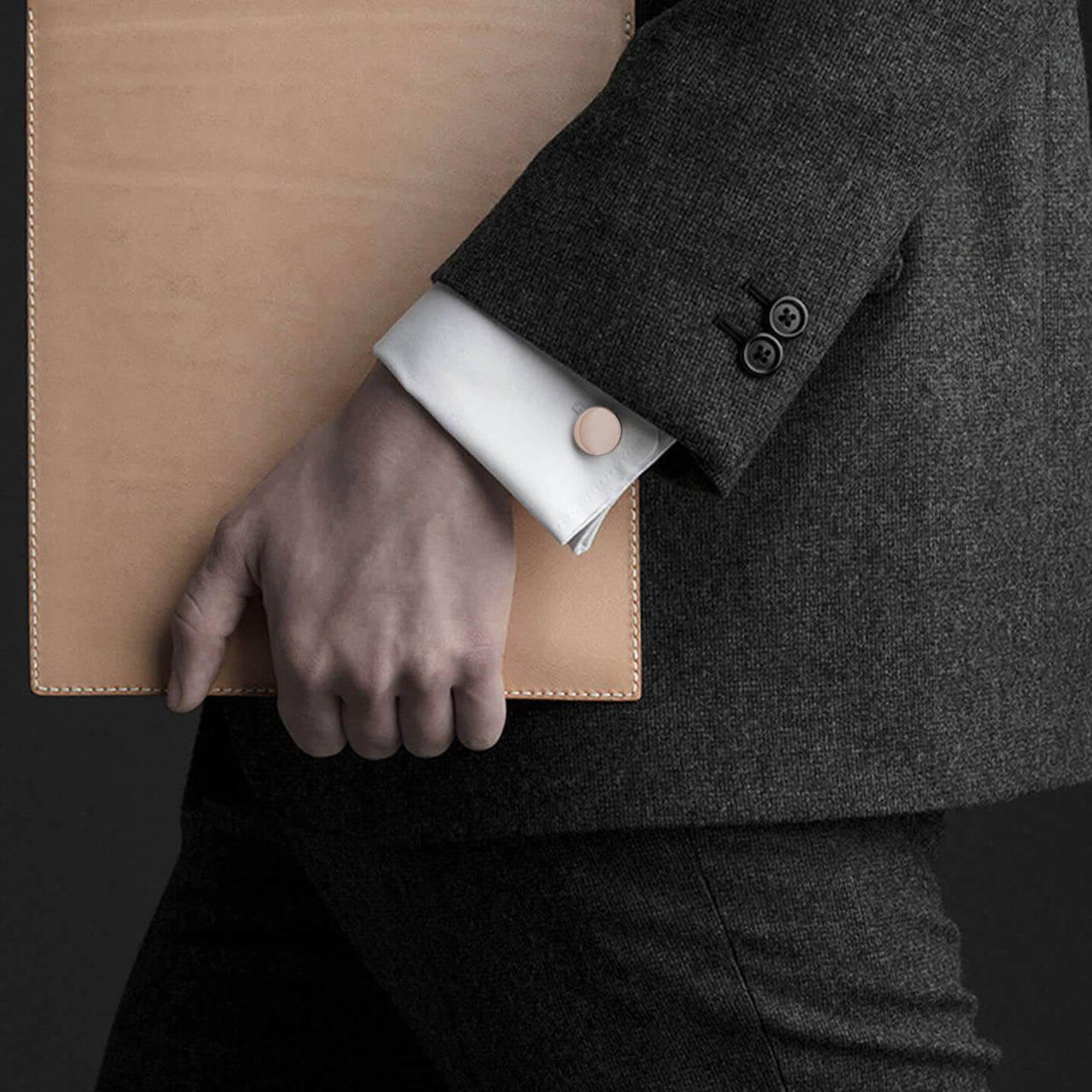 Rose Gold Cufflink worn