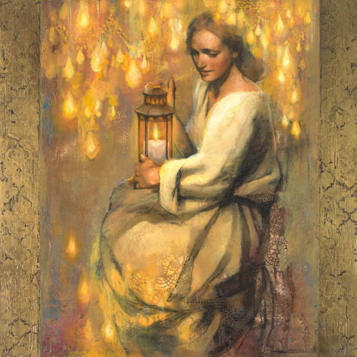 Painting of a woman holding a lantern with a candle inside. She is surrounded by glowing lights.