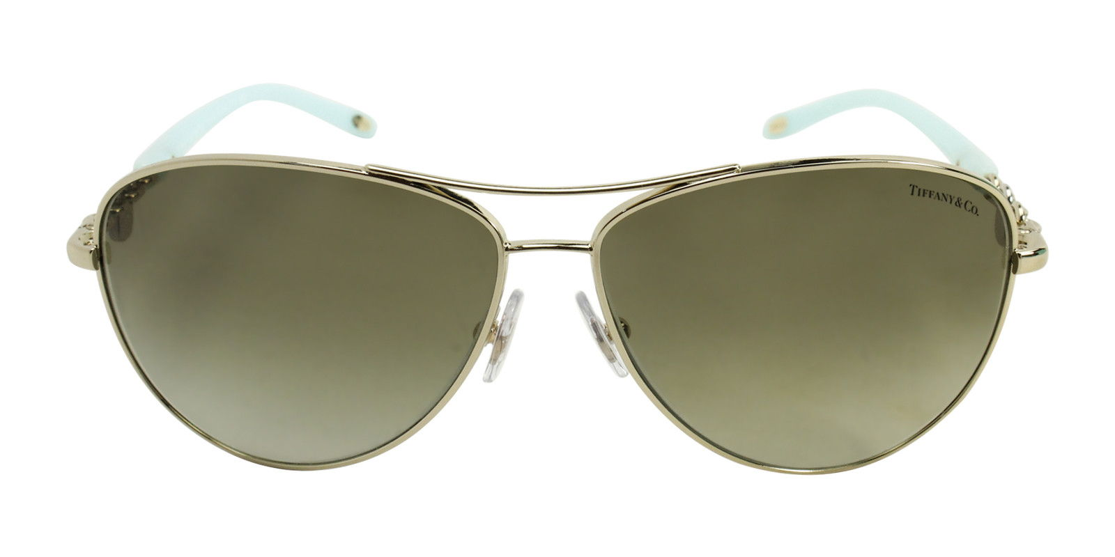 TIFFANY WOMEN'S TF3034 GOLD  GREEN LENS SUNGLASSES (front)