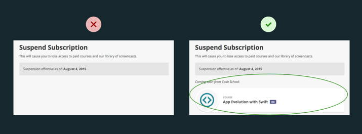 CodeSchool retains customers by informing what they will miss