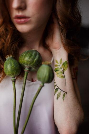 Переводная татуировка Green branches (набор)