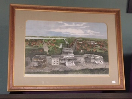 Original, One of a Kind, Hand Colored Painting of the Capital