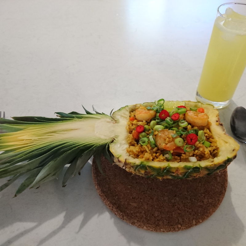 Date: 5 Dec 2019 (Thu) Pineapple Fried Rice served with...Pineapple Juice!
