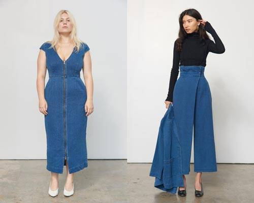 Woman wearing zip up denim dress with scoop plunge neck and woman wearing wide leg high waisted jeans with black turtleneck top, both from sustainable women's luxury brand Mara Hoffman