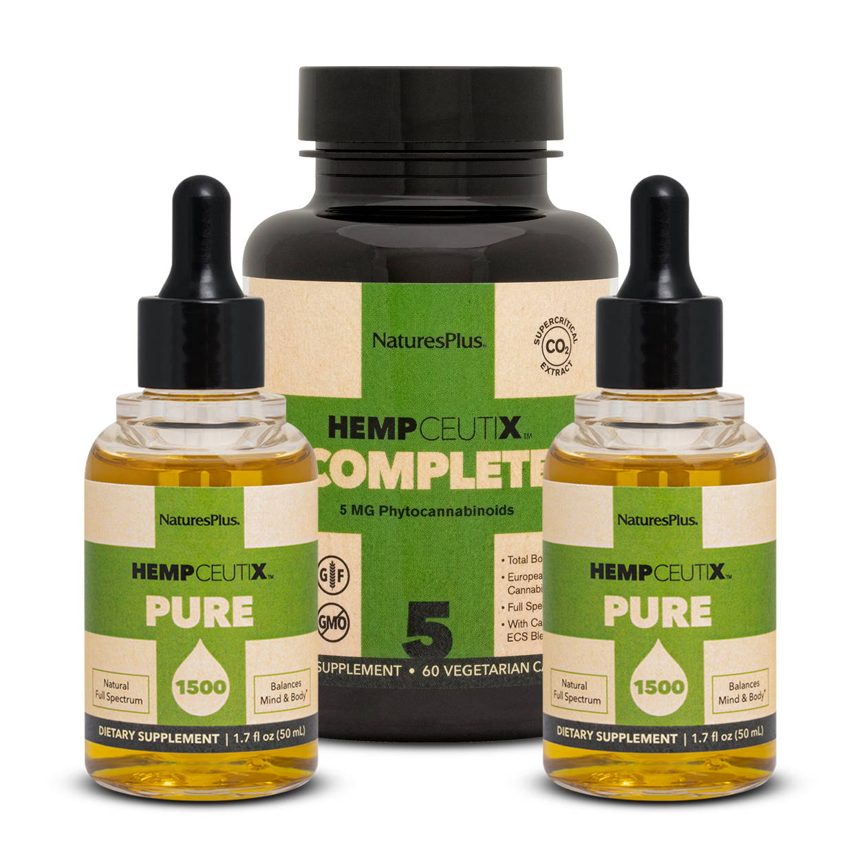 Wellness stack image containing 2 bottles of Hempceutix Pure1500 and 1 bottle of Compleate 5