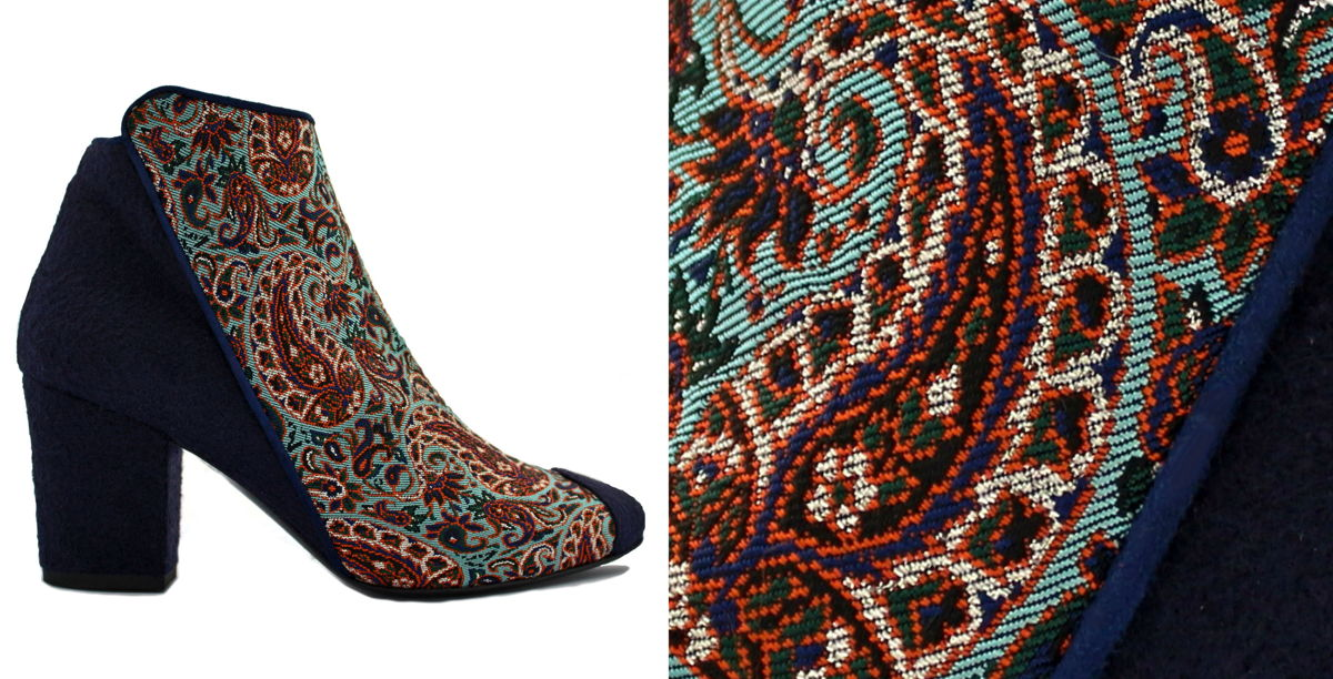 Luxury Designer Brocade velvet Ankle Boots