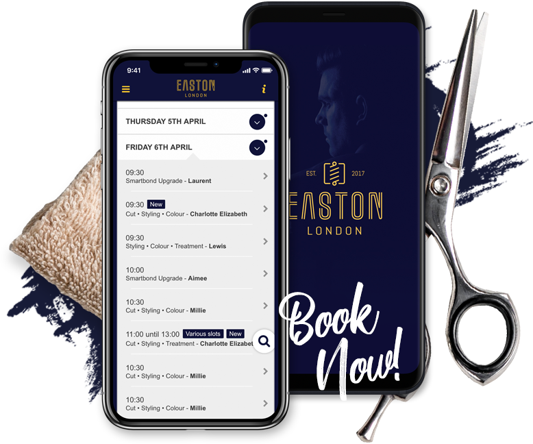 Booking system on phones for haircuts and beard trims