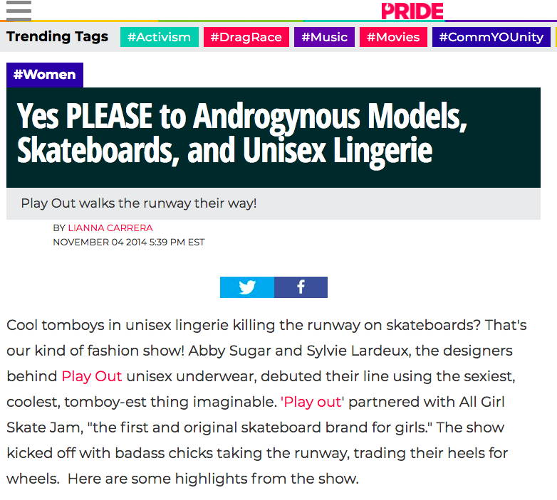 Pride.com - Androgynous Unisex Underwear, previously on SheWired