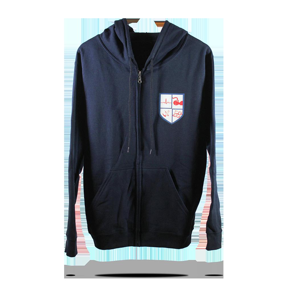 Upper chestt printed design on navy blue cotton fleece full zip hoodies sj clothing manila philippines