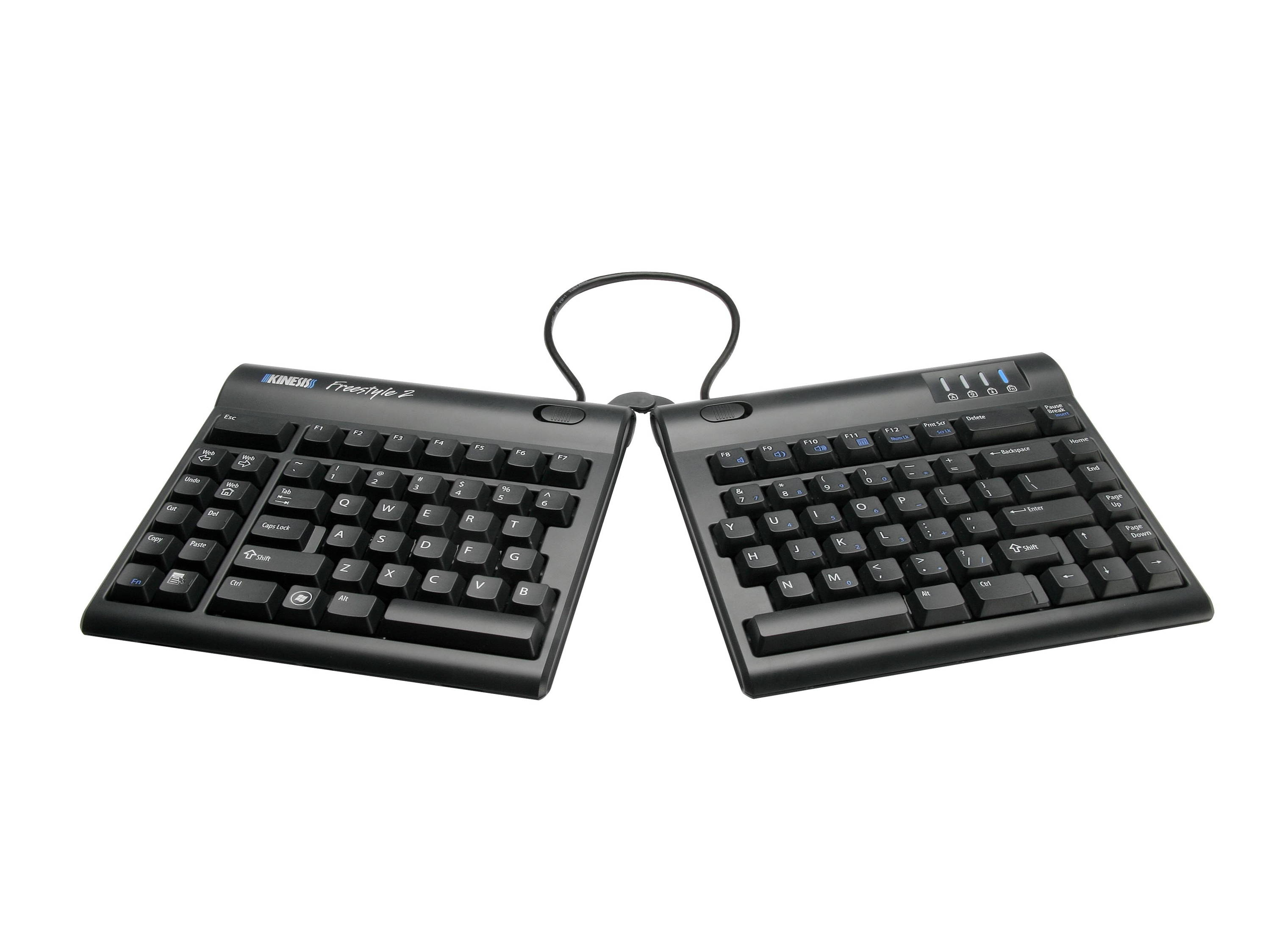 Thin ergonomic keyboard