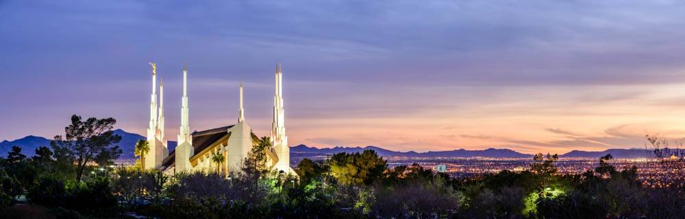 Panoramic photo of the Las Vegas Nevada LDS Temple in front of the city.