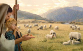 Painting of Jesus directing a young boy's gaze toward a field of sheep.