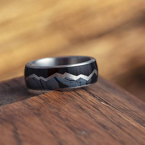 ebony wood mokume gane mountain ring