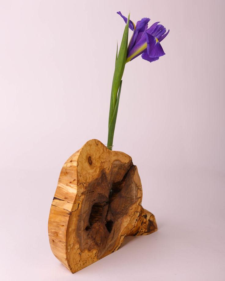 Ваза / Эковаза из дерева с колбой в стиле эко