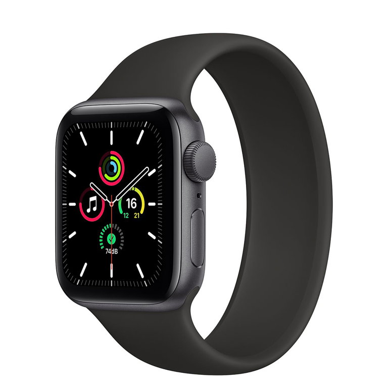 a black Apple Watch on a white background