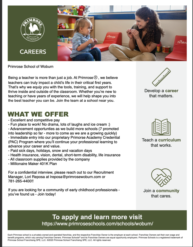 Primrose School of Woburn is looking to hire for the new school year! 📚🍎