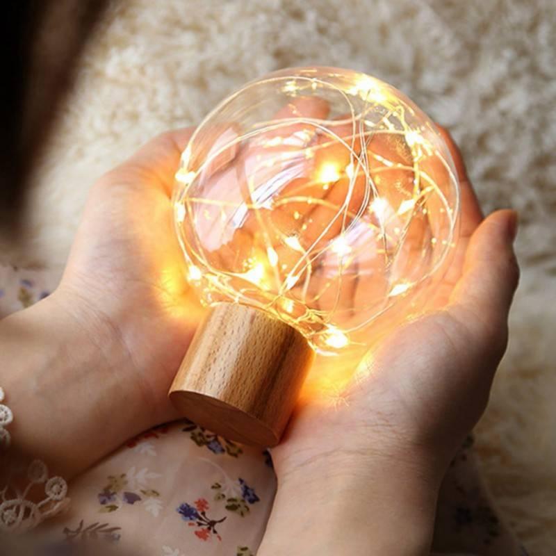 Crystal ball fairy lights lamp - fairy lights night lamp for kids room, living room or bedroom. Beautiful fairy light decoration.