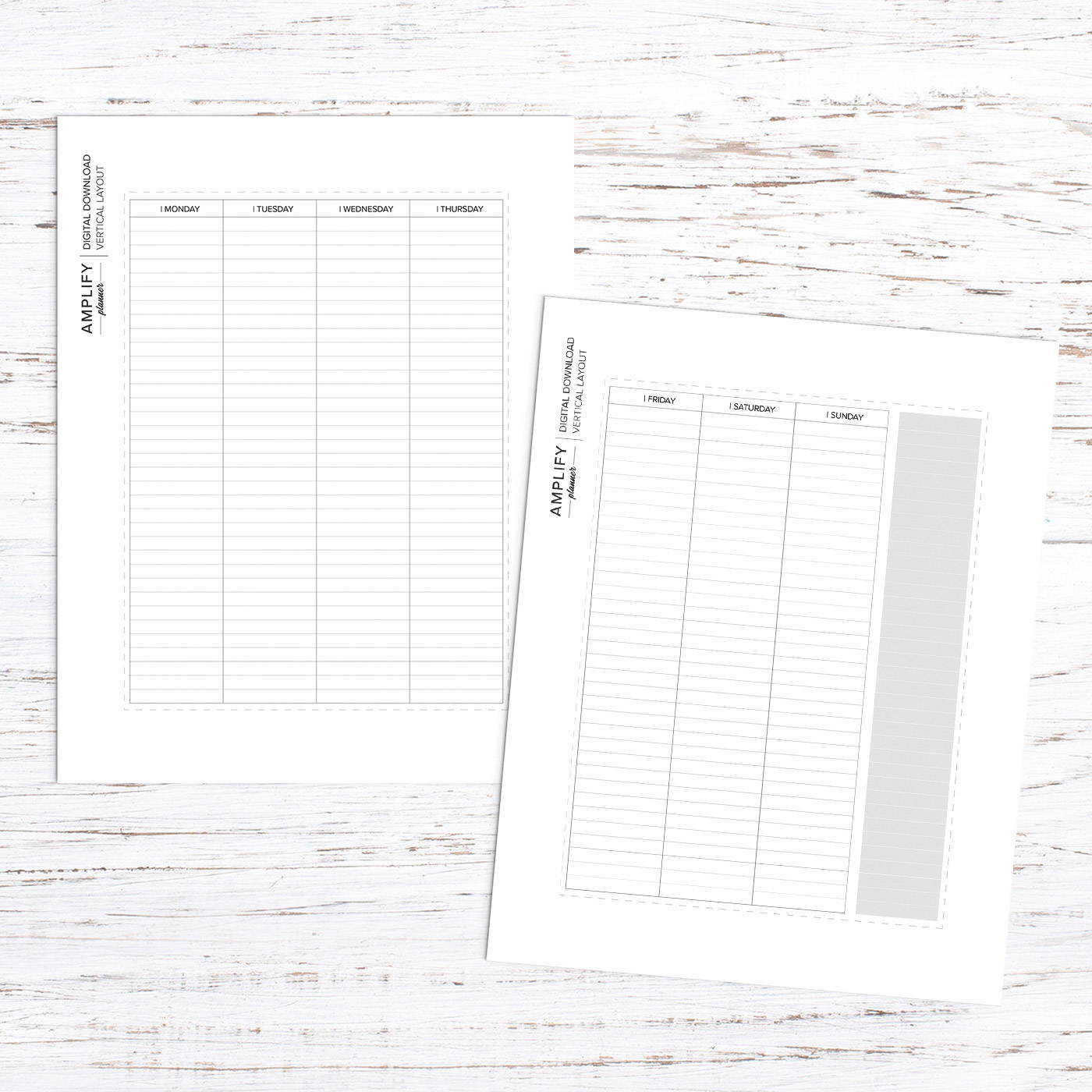 amplify planner weekly vertical layout