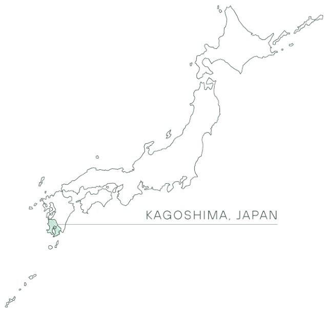 A map of Japan showing Kagoshima prefecture.
