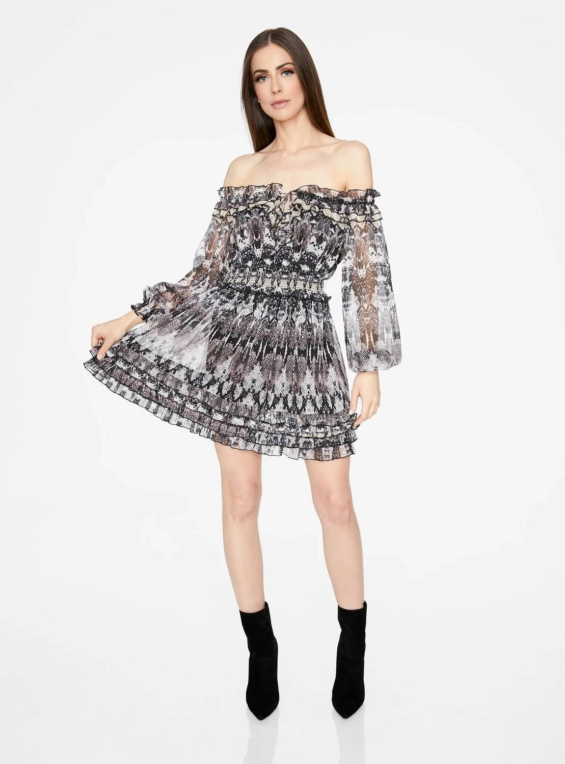 Snake Print Long Sleeve Off-the-Shoulder Ruffle Dress
