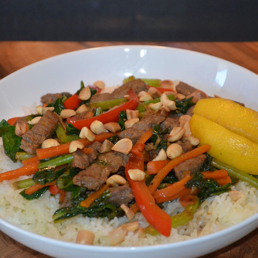 Date: 23 May 2020 (Sat) 126th Main: Teriyaki Beef Stir-Fry with Garlic Rice & Roasted Peanuts [358] [161.8%] [Score: 9.3] Cuisine: Japanese Dish Type: Main