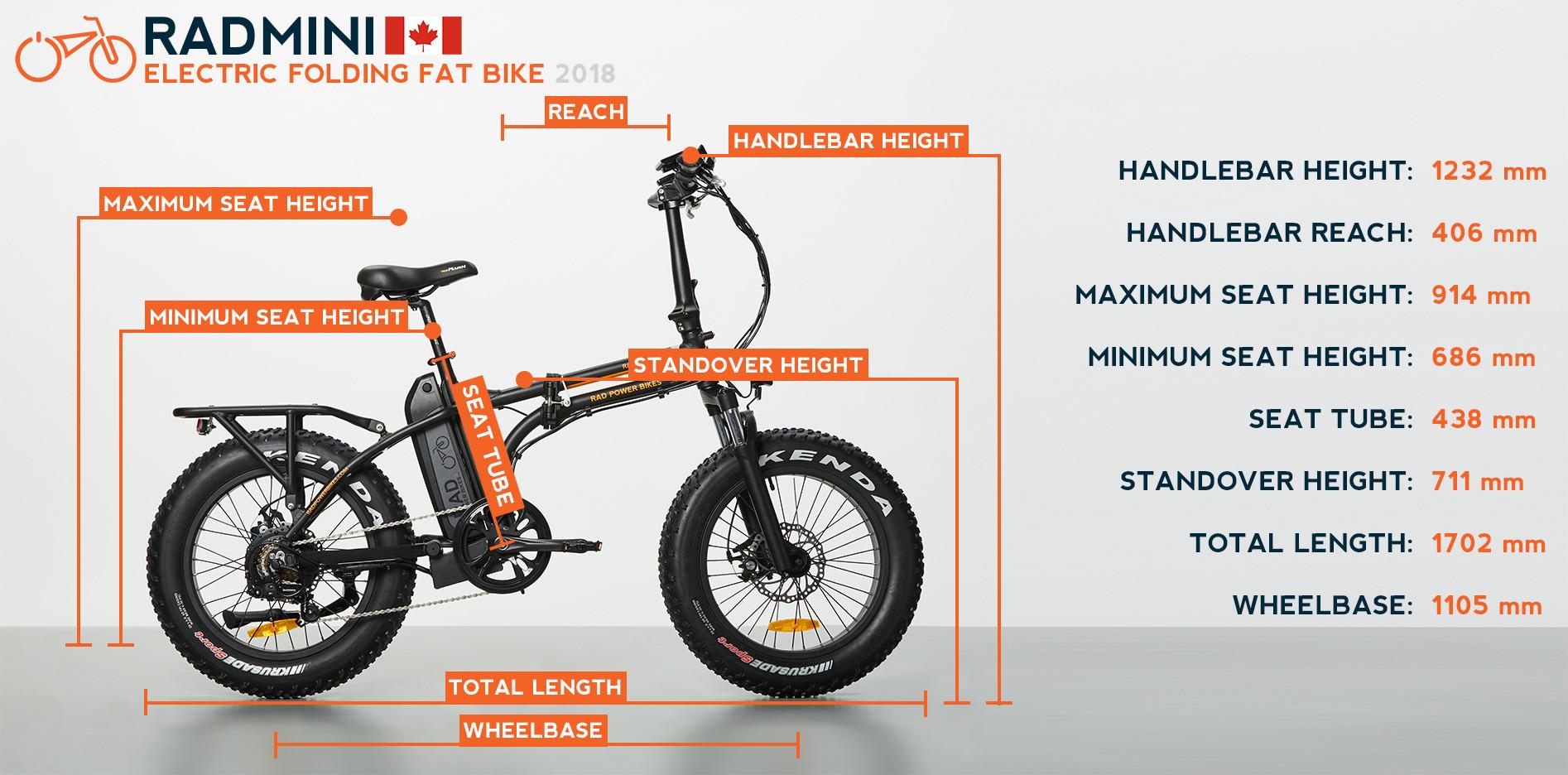2018 Radmini Electric Folding Fat Bike Rad Power Bikes