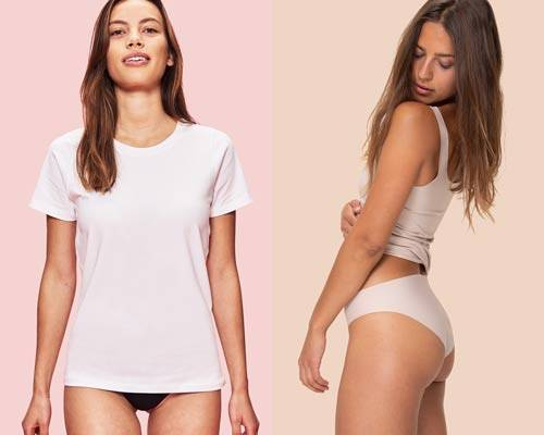 Woman wearing white organic cotton essentials tee with black briefs and woman wearing nude coloured high waist brief and vest in organic cotton from sustainable brand Organic Basics
